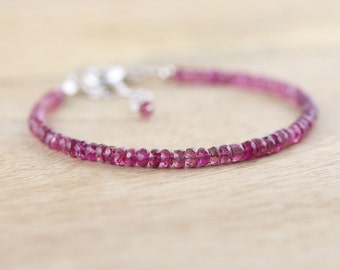 Pink Tourmaline Beaded Bracelet. Dainty Stacking Bracelet in Sterling Silver or Gold Filled. Delicate Gemstone Bracelet. Bead Jewelry