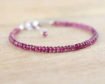 Pink Tourmaline Beaded Bracelet. Dainty Stacking Bracelet in Sterling Silver, Rose or Gold Filled. Delicate Gemstone Bracelet. Bead Jewelry