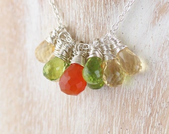 Carnelian, Peridot, Citrine & Sterling Silver Cluster Necklace, Wire Wrapped Beaded Pendant. Orange. Green and Yellow Gemstone Jewelry.