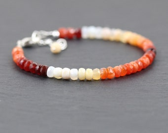 Fire Opal Beaded Stacking Bracelet in Sterling Silver, Rose or Gold Filled. Bead Bracelet. Red and Orange Semi Precious Gemstone Jewellery