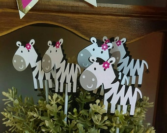 Zebra cupcake toppers, set of 12