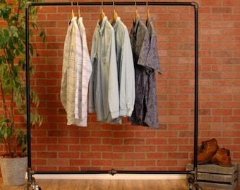 Industrial Pipe Clothing Rack Black