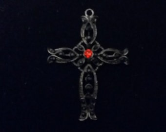 Gothic Style Black Cross with Red Rhinestone in the middle