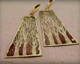 Wild Trees Etched earrings, Dangle & Drop Earrings, Brass earrings, Long Earring, boho earring,  Etched Brass, Hand drawn, Tree of life Art