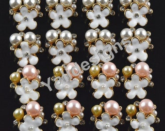 Set of 5pcs 16mm Metal Sparkly Rhinestone & Pearl Brooch-flower Crystal Style-Wedding and Children Headbands or Hair Clips-YTB56