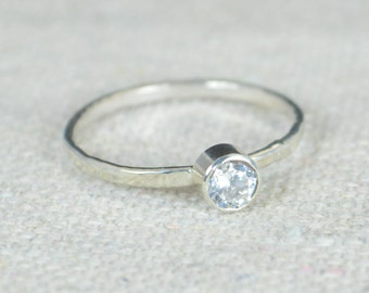 Small  CZ Diamond Ring, Hammered Silver, Stackable Rings, Mother's Ring, April Birthstone Ring, Skinny Ring, Mothers Ring, Silver