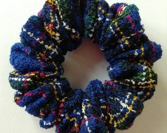 Blue Wool Mix Boucle Plaid Hair Scrunchie