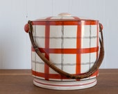 vintage 1930s handpainted Takito plaid porcelain ice bucket / 1920s hand painted TT Art Deco orange plaid canister with wicker handle