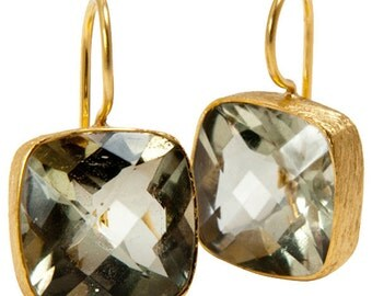Green Amethyst Gold Plate Sterling Silver Earrings