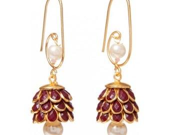 Artisan Made Floral Cluster Drop Paachi Earrings - Burgundy