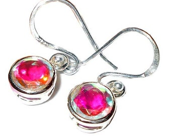 Sterling Silver Rainbow Mystic Earrings