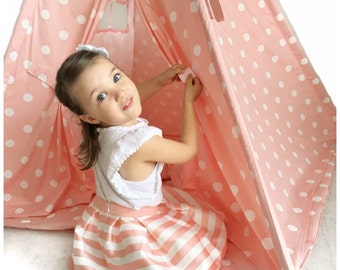 Handmade Children's Teepee Play Tent for Kids in Pink with White Polka Dots. Comes with Padded Mat Base and Two Pillows
