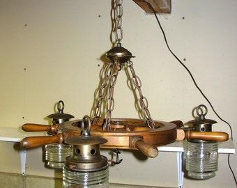 Vintage Nautical Ship Wheel Chandelier Light