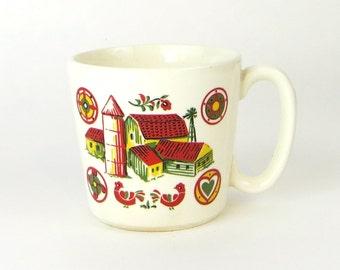 Vintage farm house and barn mug