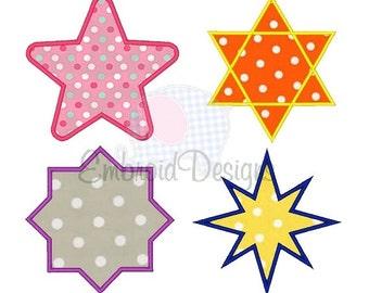 Star Shape Set Applique Machine Embroidery Design Border Frame Set Applique 2X2 4X4 5X7 8X8 6X10 Instant download