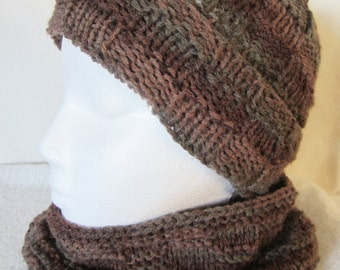 Unisex Hat And Cowl Set - hand knit in autumn colors of browns and grays. Light sport-weight acrylic. Cool weather gift for men or women!