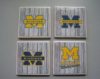 University of Michigan Themed Ceramic Tile Coasters - Set of 4