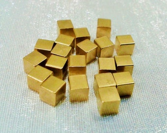 35 Pcs Raw Brass 4 x 4 mm Square Cube Beads, No Hole -Excellent quality