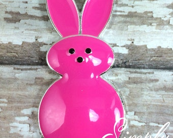 50mm Easter Hot Pink Bunny Peep Candy Spring Rhinestone Pendant Chunky Necklace Beads