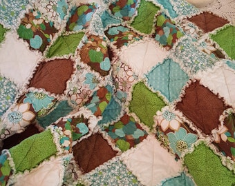 Wildflowers Picnic Quilt Throw, Rag Quilt, Medium Throw - Aquas, Greens, Browns, White