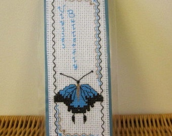 Hand cross stitched Australian fauna bookmark - Ulysses Butterfly.