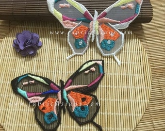 10 pcs. Butterfly Appliques. Colorful Butterflies. Embroidered organza decor. No adhesive. LA100048