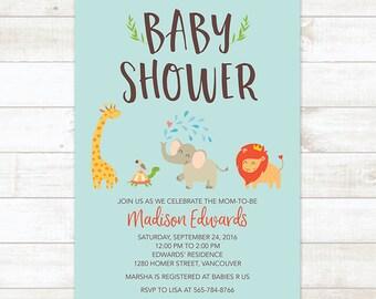 Safari Baby Shower Invitation, Jungle Baby Shower Invitation, Zoo Animals Baby Shower Invitation, Gender Neutral Baby Shower Invitation