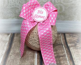 Big Sister Bow, Big Sister Hair Bow, Large Pink Bow, Over the Top Bow, Over the Top Hairbow, Pink Hair Bow Pink Hairbow,Pink and Silver  Bow