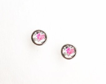Hypoallergenic Glass Cab Earrings 8mm (Surgical Stainless Steel) - Pink Flower