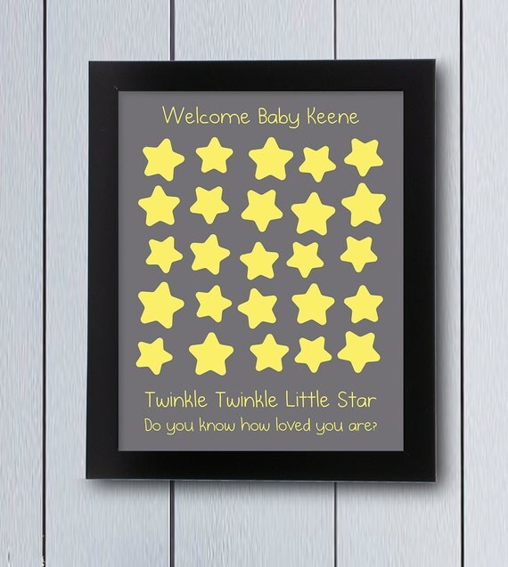 Twinkle Little Star Guest Book / Printable Pdf / Baby Shower First Birthday Guestbook  Ideas Keepsake Guest Page Lullaby Sign In Board Cute