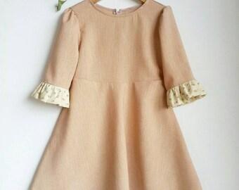 PEACH CRUSH ruffle sleeve dress | vintage look handmade