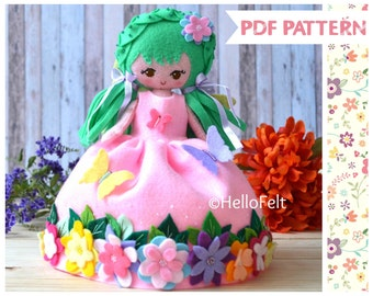 PDF PATTERN: Spring Fairy, Felt Doll Sewing Pattern. Plush Pattern. Dress up doll fairy.