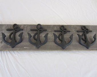 4 Cast Iron Anchor Wall Hooks Black Rust Rustic Free Shipping Patio hooks Cast Iron Wall Hook Anchor Hooks Anchor Decor Hat Hook Towel Hook