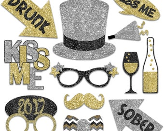 2017 New Years Eve Photo Booth Props - Printable Decorations and Banner - Over 40 Glitter Images - New Years Party - INSTaNT DOWNLoAd