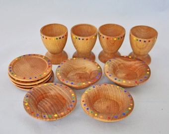 Wooden Rainbow Toy Dishes - A Waldorf and Montessori Inspired Pretend Play Kitchen Toy - Set of 4 Play Dishes and Doll Dishes