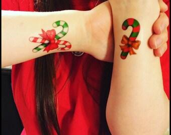 Christmas tattoos candy cane tattoos temporary tattoos fake tattoos Holiday accessories
