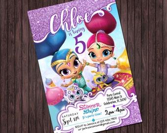 Shimmer and Shine Invitation #1 Birthday Printable Party invitation - Custom DIY