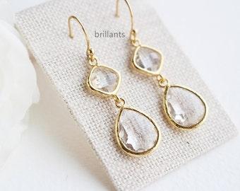 Clear Stone Teardrop earrings in gold, Bridesmaid gift, Clear stone earrings, Bridesmaid gift, Wedding earrings, everyday earrings