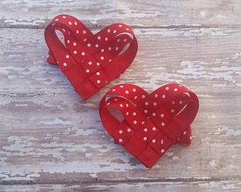 Valentine Woven Heart Clips (set of 2), Valentine's Day, Pink Polka Dot, Red Polka Dot, Love, Sweetheart