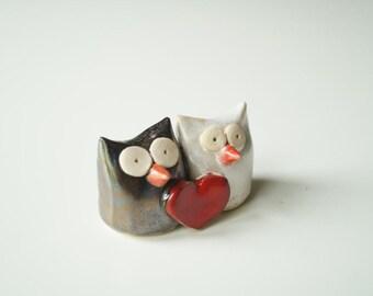 Owl Couple Wedding Cake Topper, Owl wedding, Ristic wedding, Ceramic owl