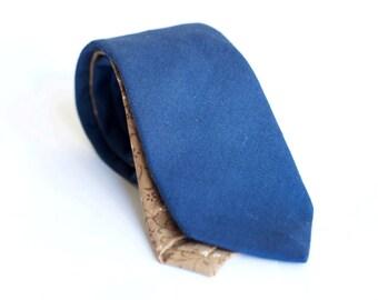 Navy linen tie, slim necktie