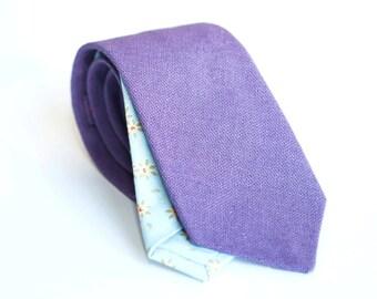 Light lavender linen tie, slim necktie