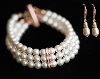 SET! Wedding set! Bridal Swarovski Pearl Bracelet&Earrings SET 3 strands swarovski pearl rose gold Vintage Style wedding Bracelet