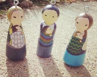 Custom Babywearing Peg Doll / Christmas Ornament / Baby's First Ornament