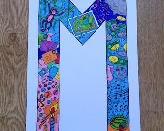 Alphabet Letter 'M' in Colour Print