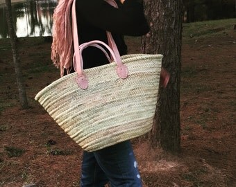 Straw bag, shopping baskets , Moroccan basket, woven straw bag,  French market bag , woven straw bag , natural fiber, double handles