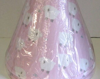 Hardback Table Lamp Shade Pink with Little Sheep, Perfect for a little girls room.