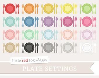 Plate Setting Clipart, Dinner Setting Clip Art Dining Dinner Plate Utensil Fork Spoon Knife Cute Digital Graphic Design Small Commercial Use