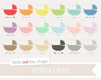 Baby Stroller Clipart, Baby Shower Clip Art Pram Buggy New Baby Infant Toddler Stationery Cute Digital Graphic Design Small Commercial Use