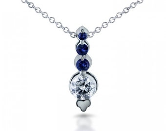 Blue Sapphire & Diamond Bead Prong Journey Necklace in 14k White Gold